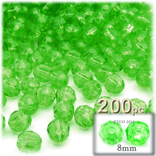 (The Crafts Outlet 200-Piece Faceted Plastic Transparent Round Beads, 8mm, Light Green)