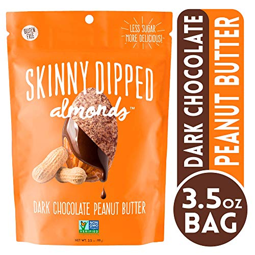 - Wild Things Skinny Dipped Dark Chocolate Peanut Butter Covered Almonds, Gluten Free, Low Sugar Snacks, 3.5 oz bag