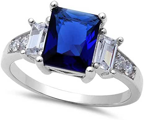 Simulated Blue Sapphire & Cubic Zirconia .925 Sterling Silver Ring Sizes 4-12