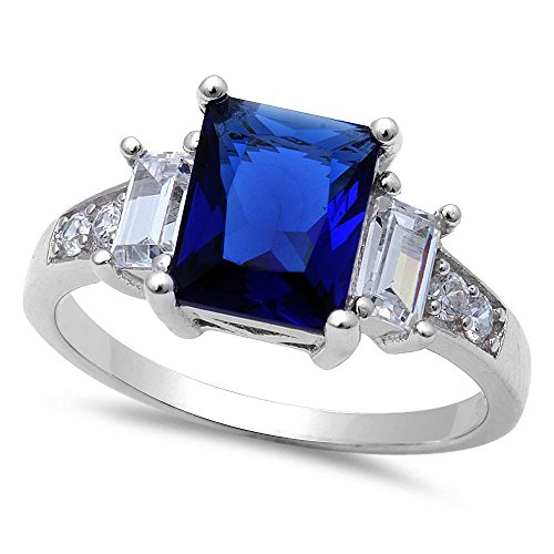 (Oxford Diamond Co Simulated Blue Sapphire & Cubic Zirconia .925 Sterling Silver Ring Sizes 5)