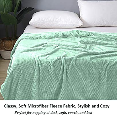 All Season Use Cotton//Minky Lightweight Full Size Bed Green//Camel//Brown DANUBEE Premium Adult Blanket for Sofa Couch