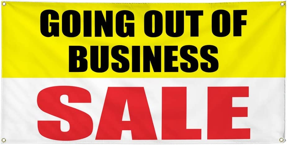 Vinyl Banner Sign Going Out of Business Sale #1 Style C Marketing Advertising White 6 Grommets Set of 2 Multiple Sizes Available 32inx80in