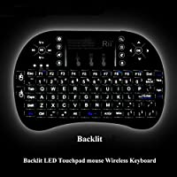 Rii i8 Plus 2.4G Wireless Touch Pad Fly Air Mouse Backlit Gaming Keyboard Control with Multi-touch for TV Box Tablet Laptop PC