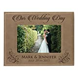 wedding picture frames - Personalized Wedding Gift Picture Frame - Custom Engraved Newlywed Photo Gifts (4 x 6)