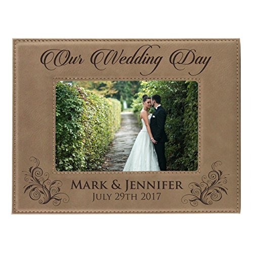 Personalized Wedding Gift Picture Frame - Custom Engraved Newlywed Leather Photo Gifts (5 x 7)