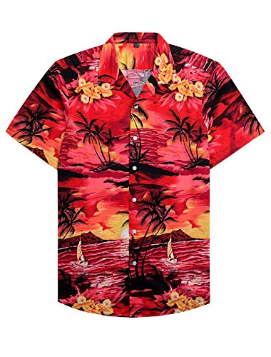 Alimens & Gentle 100% Cotton Regular Fit Short Sleeve Casual Hawaiian Shirt for Men - L