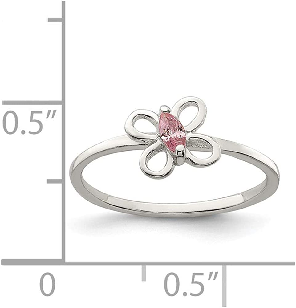 Sterling Silver Baby Childrens Ring Solid Pink CZ Butterfly Kids Ring