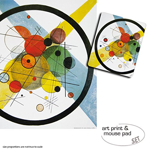 Set Regalo: 1 Póster Impresión Artística (80x60 cm) + para 1 Alfombrilla para + Ratón (23x19 cm) - Vassili Kandinsky, Círculos En Círculo, 1923 954607