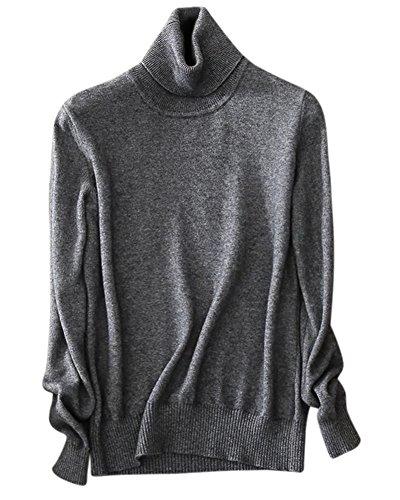 (Women's Cashmere Turtleneck Long Sleeves Lightweight Pullover Sweater, Dark Grey, US XL(16-18))