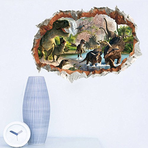 MLM 3D Dinosaurs Simulation Crack Hole Stickers Self-adhesive Peel and Stick Wall Decal Mural Living Room Bedroom Kids' Room Nursery Decor Playroom Decor by MLM (Image #1)