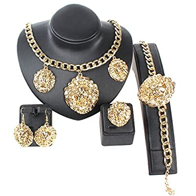 Nice Gold/Silver Tone 3pcs Lion Face Iced Out Pendant Necklace Bracelet Earrings Ring Jewelry Sets KuYUshAz