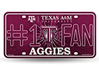 NCAA Texas A&M Aggies Bling #1 Fan Metal Auto Tag Plate, 12 x 6-Inch, Silver