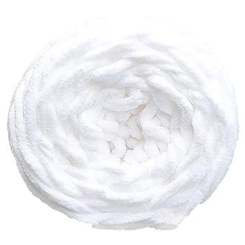 Pañuelo de lana gruesa para tejer a mano, ganchillo, manualidades, regalo, bufanda, bufanda blanco: Amazon.es: Hogar