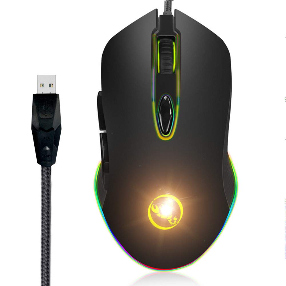 Gaming Mouse, Champhox GP02 Wired 6 Programmable Buttons RGB Game Computer Ergonomic USB Mice Gamer Laptop 4800DPI PC Gaming Mouse for Windows 7 8 10 XP Vista Linux