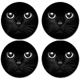 Black Cat Rubber Round Coaster set (4 pack) Great Gift Idea
