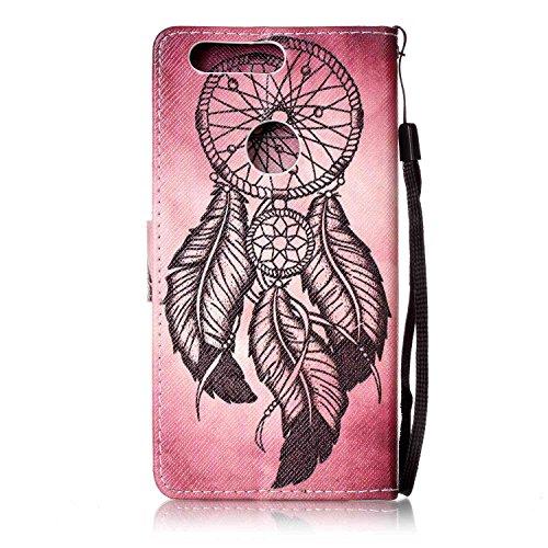 Para Honor 8móvil, piel sintética de alta calidad de móvil con cierre magnético Flip Cover Funda Piel [Tarjetero] funda piel cartera Executive Diseño (+ Polvo Conector & # xff09; blanco 9 1