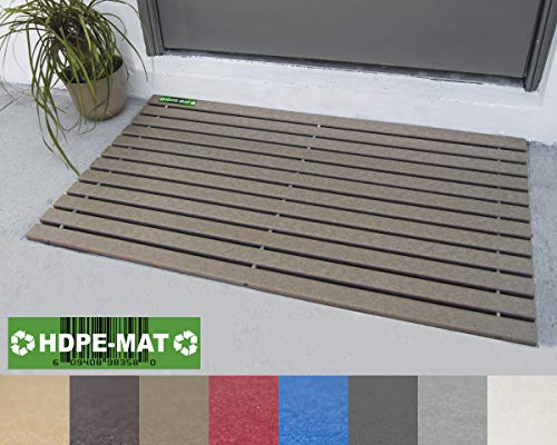 HDPE-MAT UV Resistant HDPE Mat | Heavy Duty Waterproof Front Door Mat | Stylish Handcrafted Recycled Plastic Poly Lumber Slats - Eco Friendly For Outdoor Entrance Patio Garage Entry Hazelwood Brown