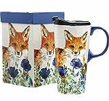 CEDAR HOME Travel Coffee Ceramic Mug Porcelain Latte Tea Cup With Lid in Gift Box 17oz. Cute Fox