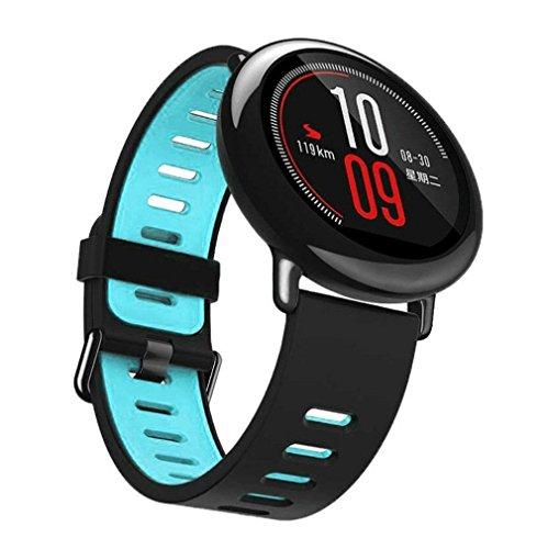 Price comparison product image Alonea 22mm Replacement Silicone Sports Strap Band For Xiaomi HUAMI AMAZFIT Smart Watch (Blue)