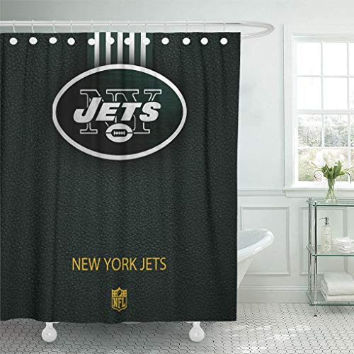 Ladble Decor Shower Curtain Set with Hooks New York City Jets Football Texture Emblem Eastern Division 72 X 78 Inches Polyester Waterproof ()
