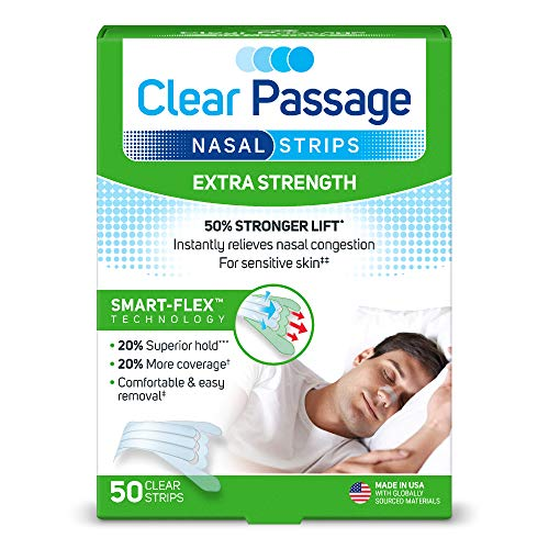 Clear Passage Nasal Strips Extra Strength, Clear, 50 ct | Works Instantly to Improve Sleep, Reduce Snoring, Relieve Nasal Congestion Due to Colds & Allergies (Extra Strength) ()