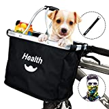 MattiSam Bicycle Basket, Quick Release Folding Bike Basket, Front Handlebar Bag, Pet Cat Dog Carrier | Removable, 5KG Load Capacity | with Phone Pouch, Drawstring, 600D Water Resistant Oxford Cloth