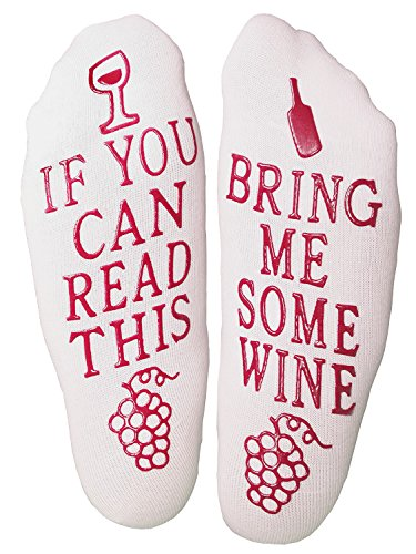"Wine Down Socks Unique Thick Cozy Funny Non-Slip ""Bring Me Some Wine"" Novelty Gift Ankle Socks, Perfect gift for women, Mothers Day Gifts, Wine Lovers, Birthday Gifts, Bridesmaids Gifts, Holiday, Trea"