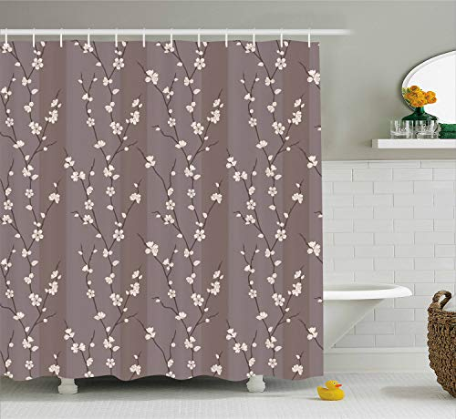 Ambesonne Floral Shower Curtain by, Spring Cherry Blossoms Flowers on Branches Asian Japanese Sakura Theme Illustration, Fabric Bathroom Decor Set with Hooks, 70 Inches, Cream