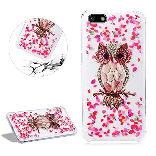 Air Cushion Reinforced Corners Clear Silicone Case for Huawei Y5 2018,DasKAn Diamond Owl Floral Design Soft Rubber Back Cover Shockproof Bumper Slim Fit Flexible Gel TPU Protective Phone Case,#8