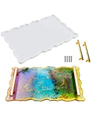 Resin Tray Molds, SAKOLLA Large Agate Platter Silicone Casting Molds with 2pcs Gold Handles for Making Serving Board, Coaster, Faux Agate Tray, Fruit Plate