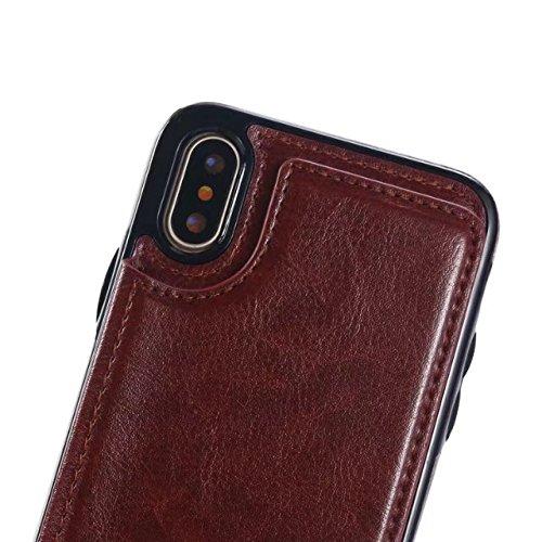JIALUN-carcasa de telefono Caso de cuero del soporte de la PU del color sólido de la caja del teléfono Xhone con ranura para tarjeta y funda de sujeción del teléfono de la contraportada del estuche de Brown