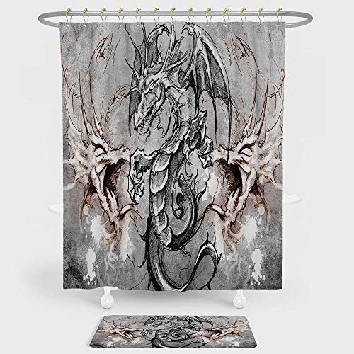 iPrint Dragon Shower Curtain And Floor Mat Combination Set Scary Creature in Sketch Stylized Horror Scene Monster Tattoo Art Gothic Picture Decorative For decoration and daily use Grey Umber