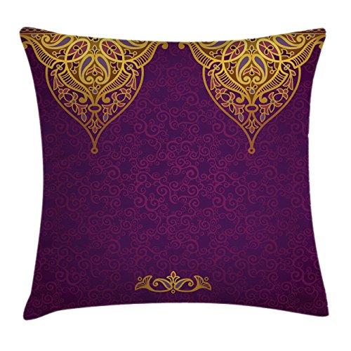 Ambesonne Purple Throw Pillow Cushion Cover, East Oriental R