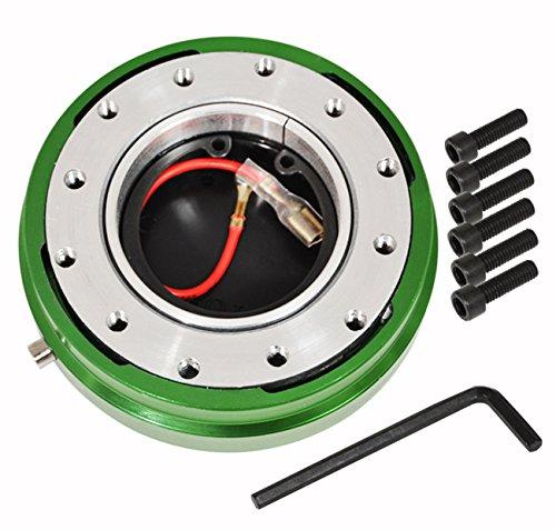 Jdm Steering Wheels (AJP Distributors Universal JDM Slim Quick Release Racing Steering Wheel Adapter Hub Kit Green)