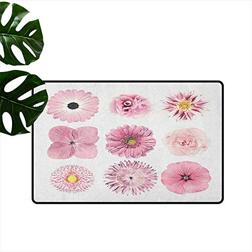 Ballard Office Set - RenteriaDecor Pink and White,Kitchen Mat Botanical Daisy Chrystanthemum Cornflower Dahlia Iberis Primrose Gerbera Set 16