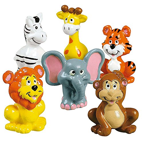"2"" Set of 12 Zoo Animals Tiger, Lion, Elephant, Monkey Action Figure Toys"