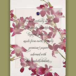 Printable DIY Invitations Kit - Premium 100% Recycled Orchid with Amethyst Crystal Brad (10 count)
