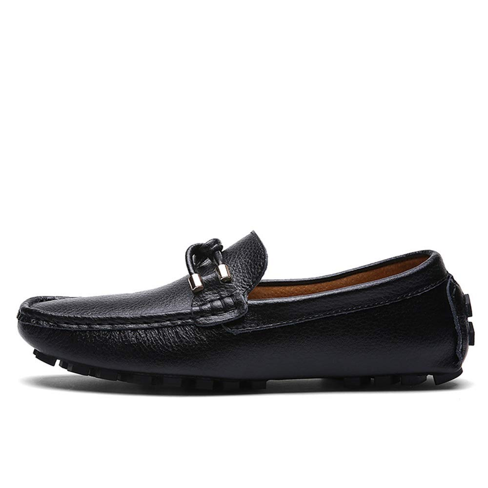 Fashion Leather Men's Peas shoes shoes Breathable Casual Lazy shoes Men's Boots (color   Black, Size   41)