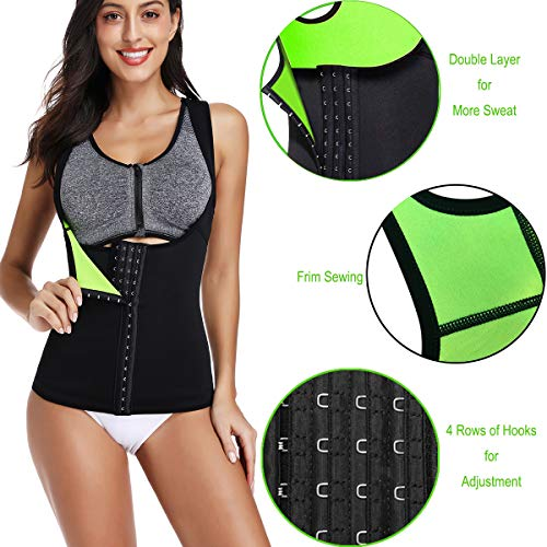 HOPLYNN Neoprene Sweat Waist Trainer Corset Vest for Weight Loss for Women  Double Layer Tummy Control Shapewear with Adjustable Belt Black/Green L