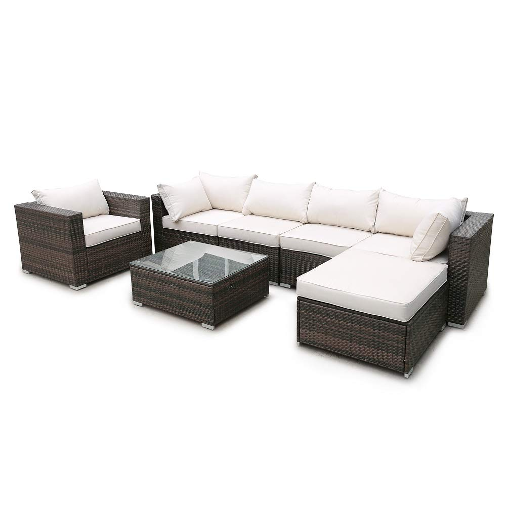Amazon.com : Rikis 7 Piece Cushioned Outdoor Furniture Sets ...