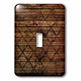 3dRose Anne Marie Baugh - Patterns - Chic Faux Printed Brown Wood With A Faux Gold Diamond Damask - Light Switch Covers - single toggle switch (lsp_283422_1)