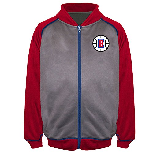 NBA Los Angeles Clippers Poly Fleece Raglan Track Jacket, Charcoal/Red, 2X/Tall
