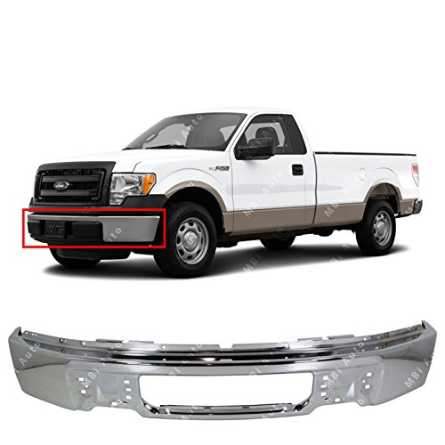 MBI AUTO - Chrome, Steel Front Bumper Face Bar Fascia for 2009 2010 2011 2012 2013 2014 Ford F150 Pickup 09-14, FO1002412