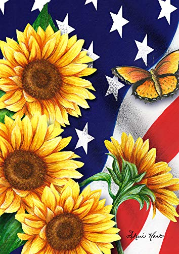Toland Home Garden 1112204 American Sunflowers 12.5 x 18 Inch Decorative, Patriotic Flowers and Butterflies, Garden Flag