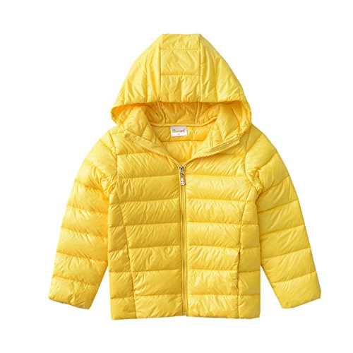 Hiheart Boys Girls Hooded Down Jackets Packable Puffer Winter Coat Yellow 6T