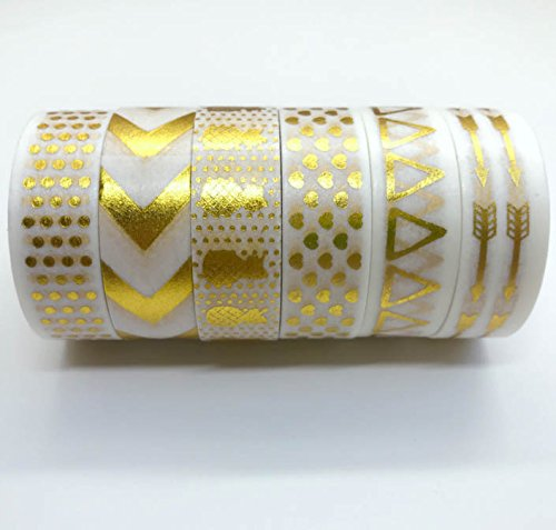 4 Week Copper Leaf (Washi Tape, Premium Gold Foil Tape for Arts and Crafts, Decorative, Set of 6 Tapes Designed Beautifully for Scrapbooking and Photo Album, DIY Arts and Crafts and Gift Wrapping. Sticky, Masking Tape.)