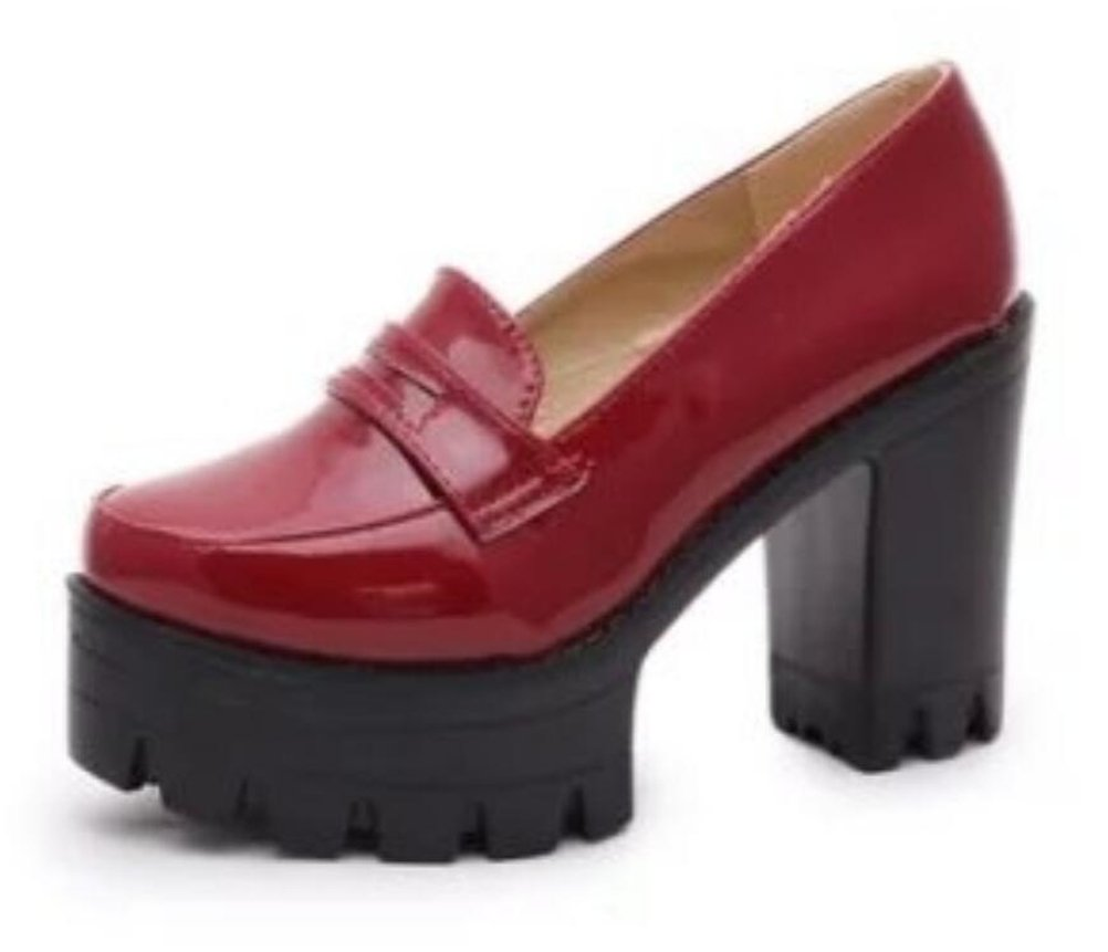 ACE SHOCK Women's Girl's Lolita Low Top Japanese Students Maid Uniform Dress Shoes (7.5, Red)