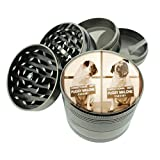 Pug Dog Bulldog Mug Shot Fun Titanium 4 PC Magnetic Grinder 2.1' Hand Mueller D-550