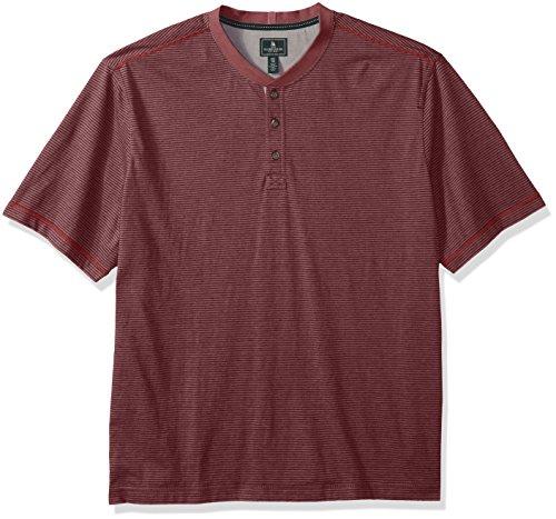 G.H. Bass & Co. Men's Big and Tall Madawaska Short Sleeve Feeder Stripe Henley Shirt, Rich Rhubarb Heather, 3X-Large