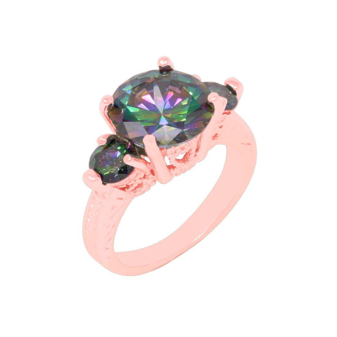 Amazon.com: 3 Stone Filigree Engagement Ring Round Simulated Rainbow ...